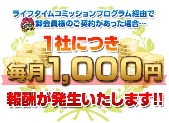 ライフタイムコミッションプログラム経由で卸会員様のご契約があった場合、1社につき『毎月1,000円』の報酬が発生いたします!!